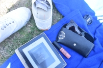 "Sunny essentials: KOBO, NYX ""Stockholm,"" and my Raybans"