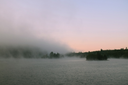 Sunrise and fog on Sucker Gut Lake
