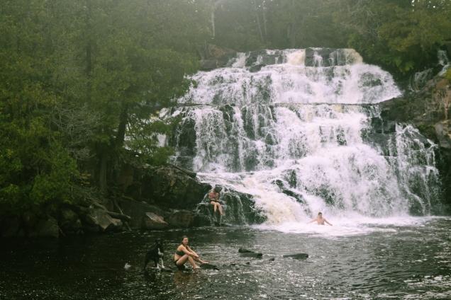 swimming in the falls